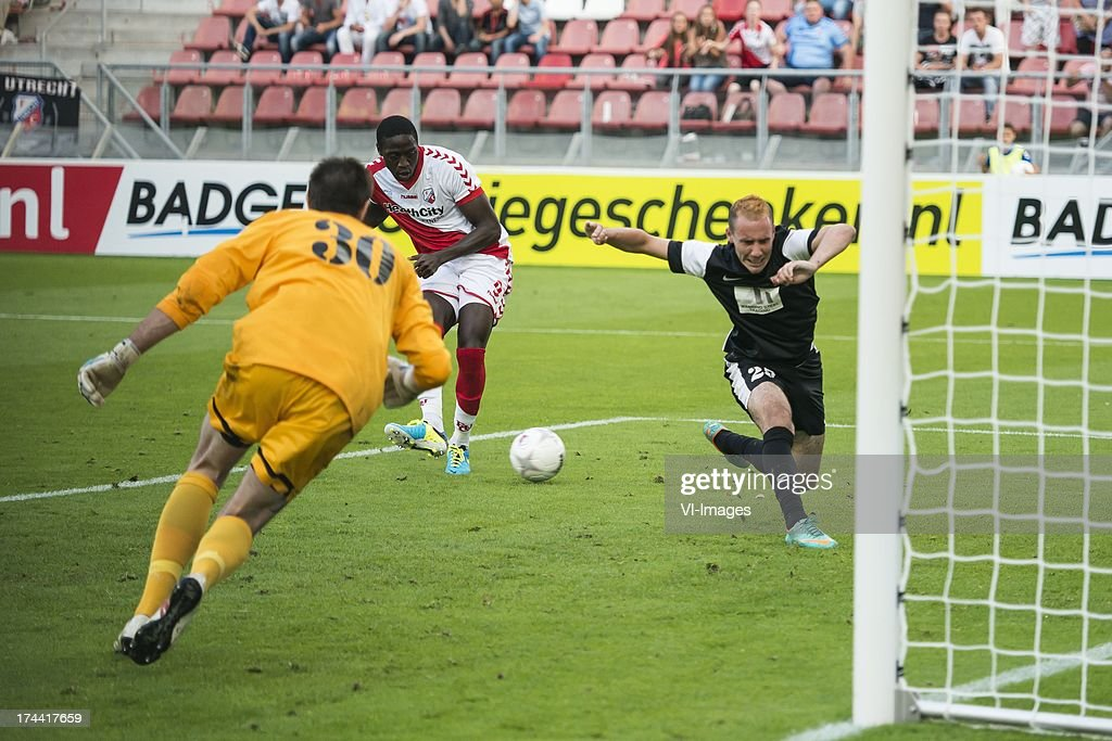 Goalkeeper Julien Weber of FC Differdange 03, Jacob Mulenga of FC Utrecht , Geoffrey Franzoni of FC Differdange 03 during the Europa League second qualifying round match between FC Utrecht and FC Differdange on July 25, 2013 in Utrecht, The Netherlands.