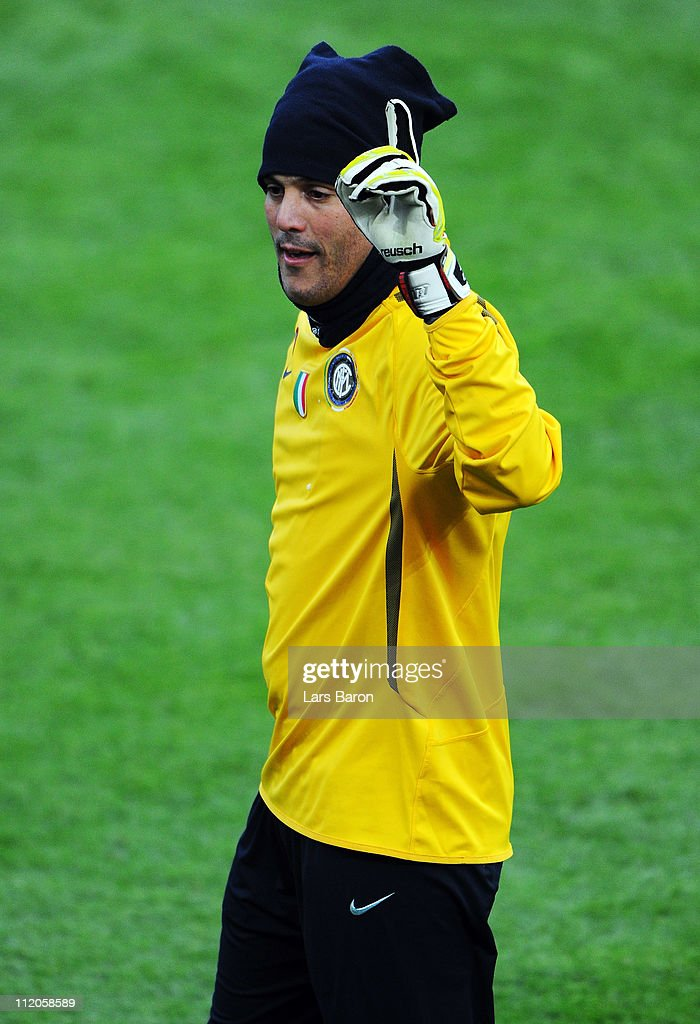 Goalkeeper Julio Cesar is seen during a Inter Milan training session ahead of the UEFA Champions League quarter final second leg match against FC Schalke 04 at Veltins Arena on April 12, 2011 in Gelsenkirchen, Germany.
