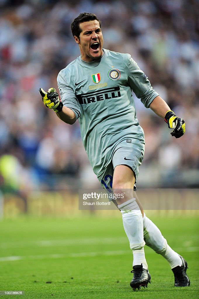 Goalkeeper Julio Cesar of Inter Milan celebrates after his team mate Diego Milito scored the opening goal during the UEFA Champions League Final match between FC Bayern Muenchen and Inter Milan at the Estadio Santiago Bernabeu on May 22, 2010 in Madrid, Spain.