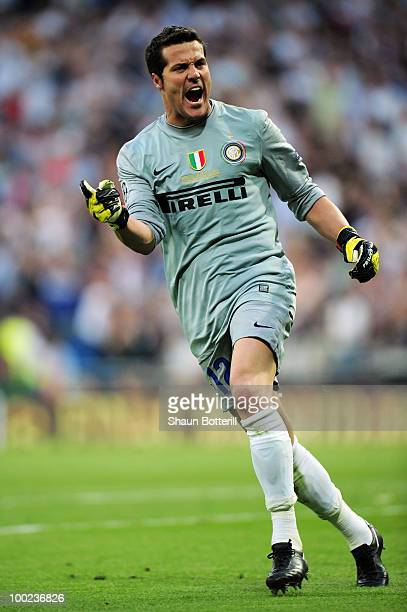 Goalkeeper Julio Cesar of Inter Milan celebrates after his team mate Diego Milito scored the opening goal during the UEFA Champions League Final...