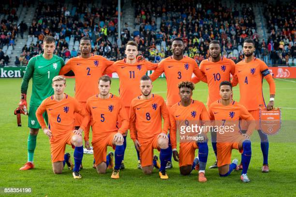 goalkeeper Justin Bijlow of Jong Oranje Denzel Dumfries of Jong Oranje Oussama Idrissi of Jong Oranje Timothy FosuMensah of Jong Oranje Riechedly...