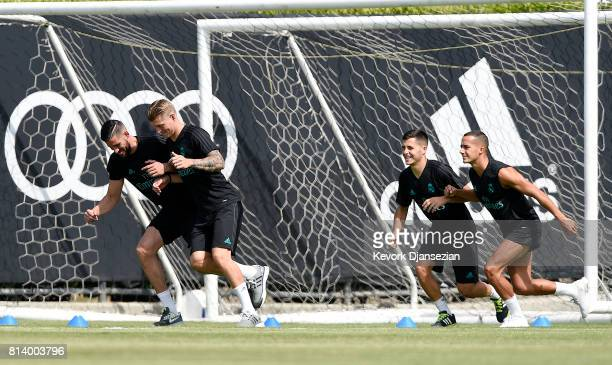 Goalkeeper K Casilla and Toni Kroos Lucas Vazquez of Real Madrid during training for Tour 2017 on the campus of UCLA July 13 in Los Angeles California