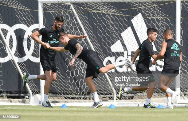 Goalkeeper K Casilla and Toni Kroos of Real Madrid during training for Tour 2017 on the campus of UCLA July 13 in Los Angeles California