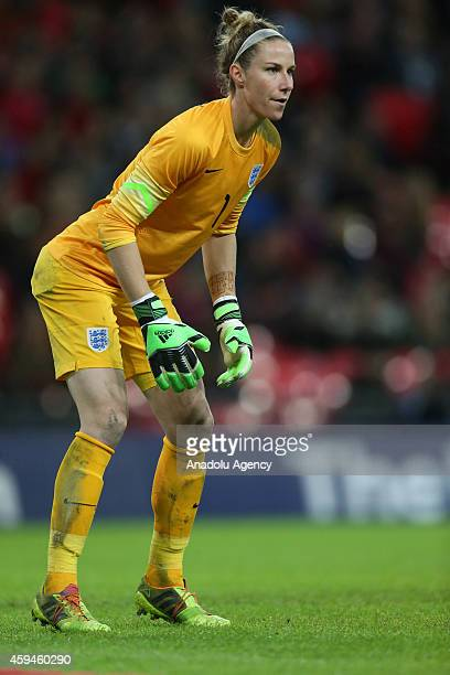 Goalkeeper Karen Bardsley of the England women's national football team in action during the Women's International Friendly match between England and...