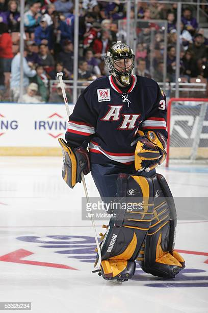 Goalkeeper Kari Lehtonen of the Planet USA All Stars on the ice during the AHL AllStar Game at Verizon Wireless Arena Manchester New Hampshire...