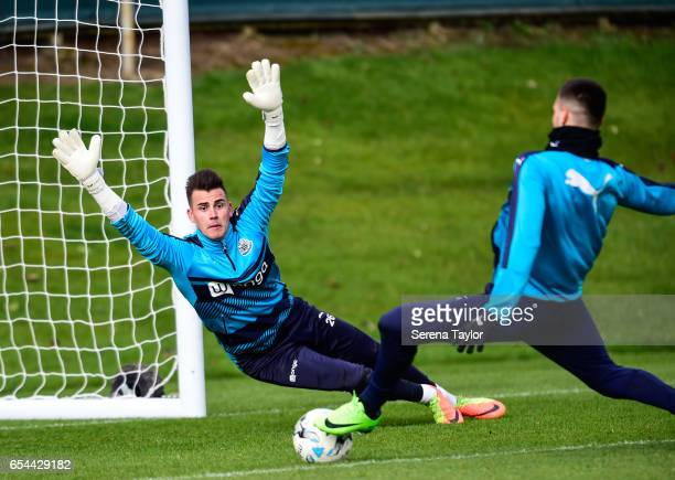 Goalkeeper Karl Darlow dives to save the ball from Aleksandar Mitrovic during the Newcastle United Training Session at The Newcastle United Training...