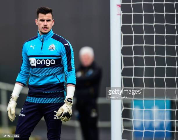 Goalkeeper Karl Darlow during the Newcastle United Training Session at The Newcastle United Training Centre on March 10 2017 in Newcastle upon Tyne...