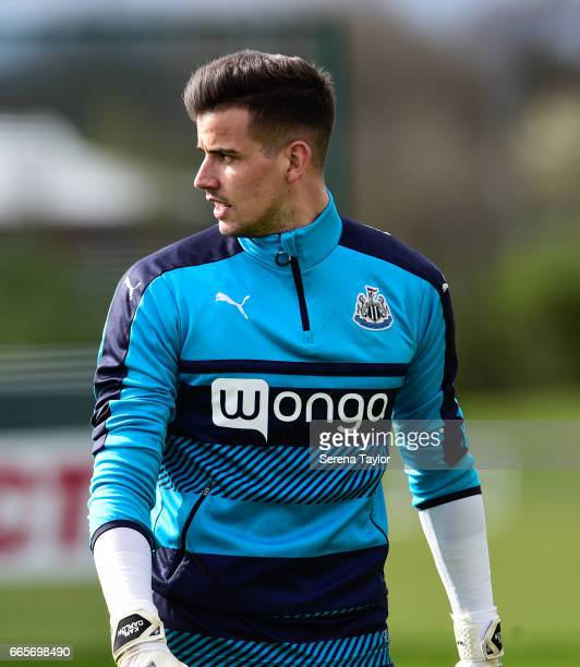 Goalkeeper Karl Darlow during the Newcastle United Training Session at The Newcastle United Training Centre on April 7 2017 in Newcastle upon Tyne...