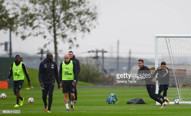 Goalkeeper Karl Darlow grabs hold of the ball while Joselu grabs hold of him during the Newcastle United Training session at the Newcastle United...