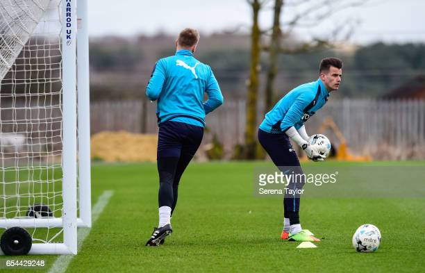 Goalkeeper Karl Darlow holds the ball during the Newcastle United Training Session at The Newcastle United Training Centre on March 17 2017 in...