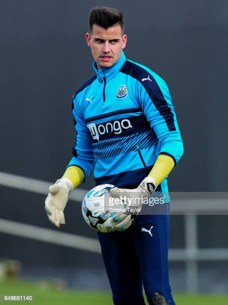 Goalkeeper Karl Darlow holds the ball in his hand during the Newcastle United Training Session at The Newcastle United Training Centre on March 6...