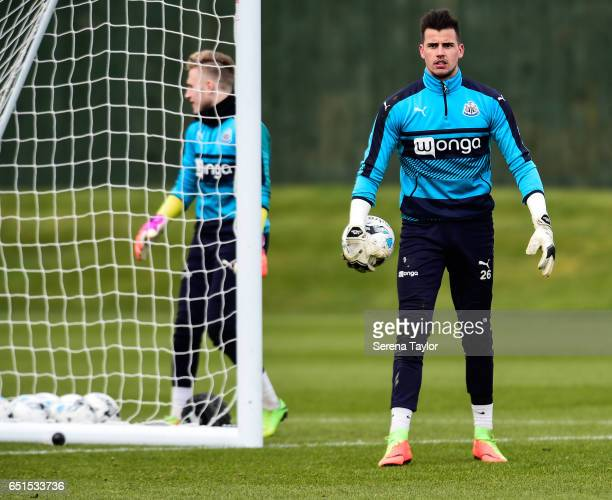 Goalkeeper Karl Darlow holds the ball in his hands during the Newcastle United Training Session at The Newcastle United Training Centre on March 10...