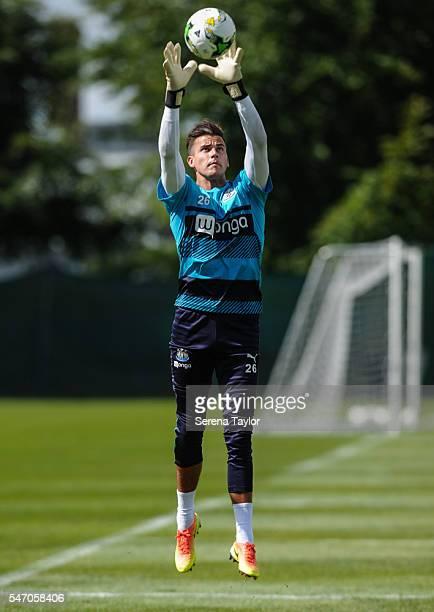 Goalkeeper Karl Darlow jumps in the air to catch the ball in two hands during the Newcastle United Training Camp at Carton House on July 13 in...