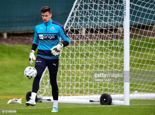 Goalkeeper Karl Darlow keeps the ball up during the Newcastle United Training Session at the Newcastle United Training Ground on April 27 2017 in...