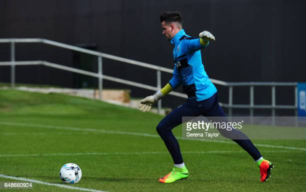 Goalkeeper Karl Darlow kicks the ball into play during the Newcastle United Training Session at The Newcastle United Training Centre on March 6 2017...