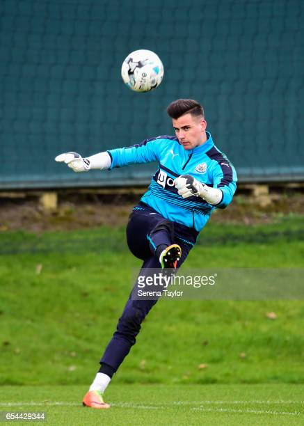 Goalkeeper Karl Darlow kicks the ball into play during the Newcastle United Training Session at The Newcastle United Training Centre on March 17 2017...