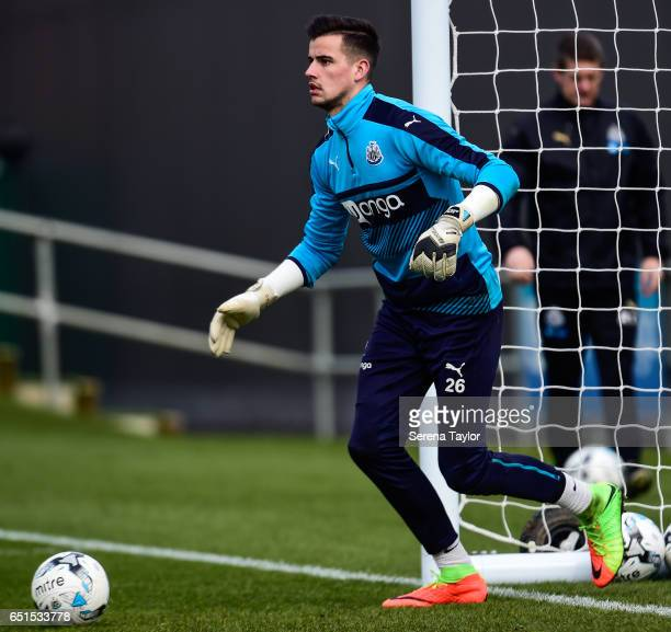 Goalkeeper Karl Darlow looks to kick the ball during the Newcastle United Training Session at The Newcastle United Training Centre on March 10 2017...