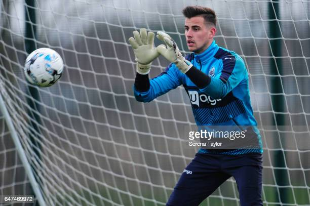 Goalkeeper Karl Darlow looks to save the ball during the Newcastle United Training Session at The Newcastle United Training Centre on March 3 2017 in...