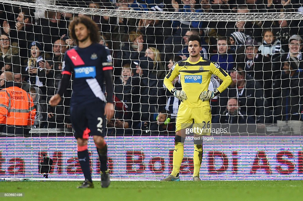 Goalkeeper Karl Darlow of Newcastle United shows his dejection after allowing the first goal to West Bromwich Albion during the Barclays Premier League match between West Bromwich Albion and Newcastle United at The Hawthorns on December 28, 2015 in West Bromwich, England.