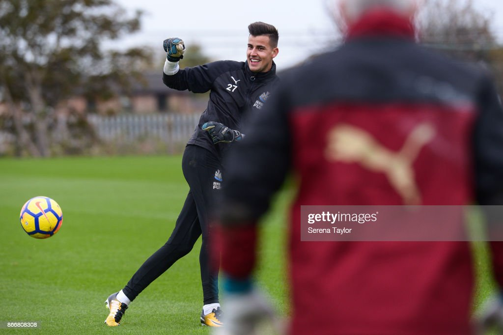 Goalkeeper Karl Darlow passes the ball during the Newcastle United Training Session at The Newcastle United Training Centre on October 26, 2017, in Newcastle, England.