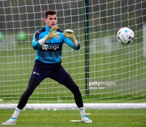 Goalkeeper Karl Darlow poises to catch the ball during the Newcastle United Training Session at The Newcastle United Training Centre on March 30 2017...
