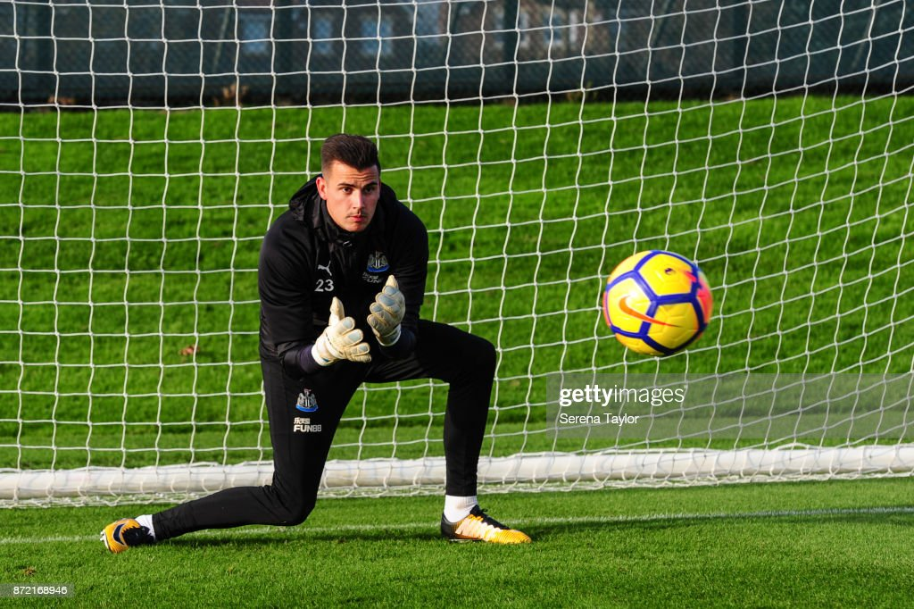 Goalkeeper Karl Darlow sets himself to catch the ball during the Newcastle United Training session at the Newcastle Untied Training Centre on November 9, 2017 in Newcastle upon Tyne, England.