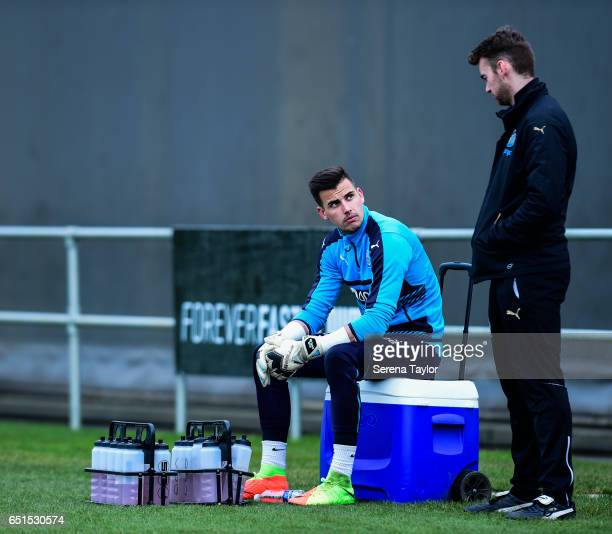 Goalkeeper Karl Darlow sits on the drink trolley during the Newcastle United Training Session at The Newcastle United Training Centre on March 10...
