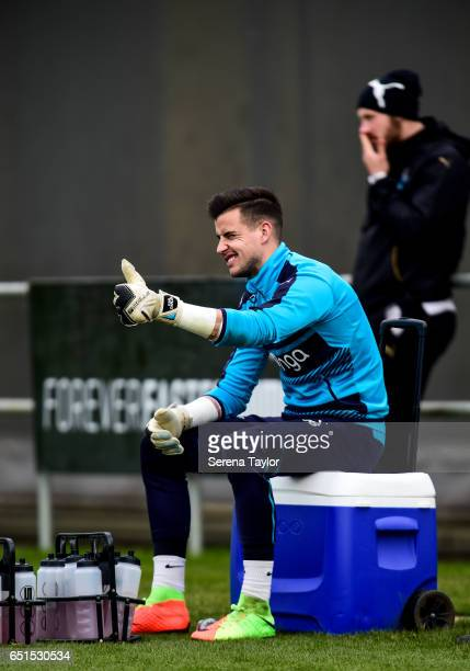 Goalkeeper Karl Darlow sits on the drink trolley giving the thumbs up during the Newcastle United Training Session at The Newcastle United Training...