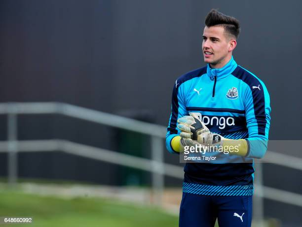Goalkeeper Karl Darlow smiles during the Newcastle United Training Session at The Newcastle United Training Centre on March 6 2017 in Newcastle upon...