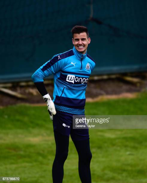 Goalkeeper Karl Darlow smiles during the Newcastle United Training Session at the Newcastle United Training Ground on April 27 2017 in Newcastle upon...