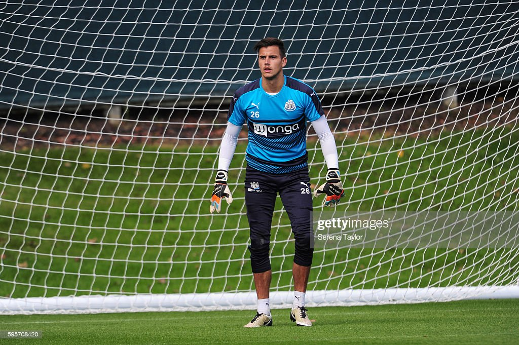 Goalkeeper Karl Darlow stands in goal during the Newcastle United Training Session at The Newcastle United Training Centre on August 26 in Bristol...
