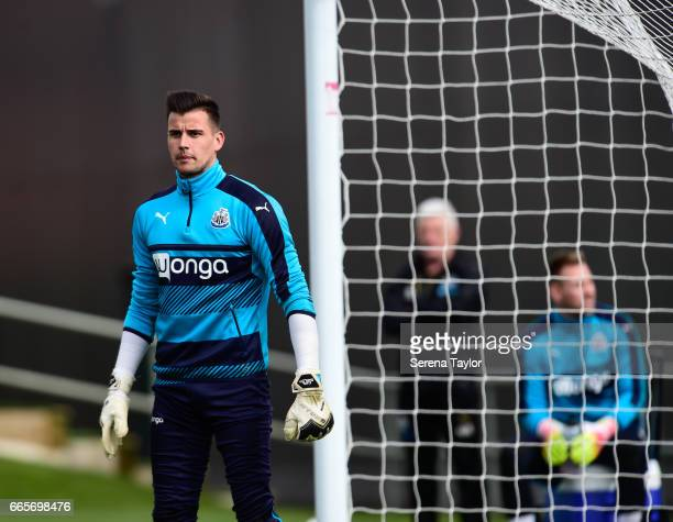 Goalkeeper Karl Darlow stands in goal during the Newcastle United Training Session at The Newcastle United Training Centre on April 7 2017 in...