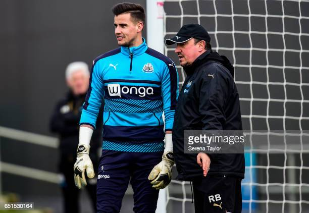 Goalkeeper Karl Darlow talks with Newcastle United's Manager Rafael Benitez during the Newcastle United Training Session at The Newcastle United...