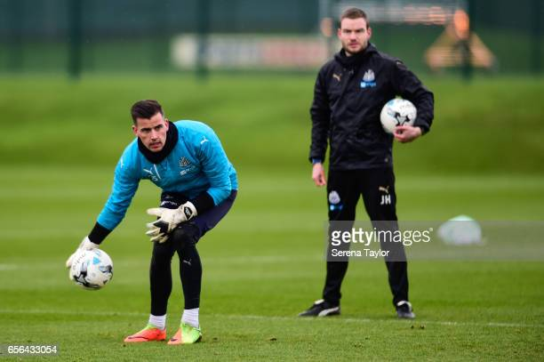 Goalkeeper Karl Darlow throws the ball into play during the Newcastle United Training Session at The Newcastle United Training Centre on March 22...