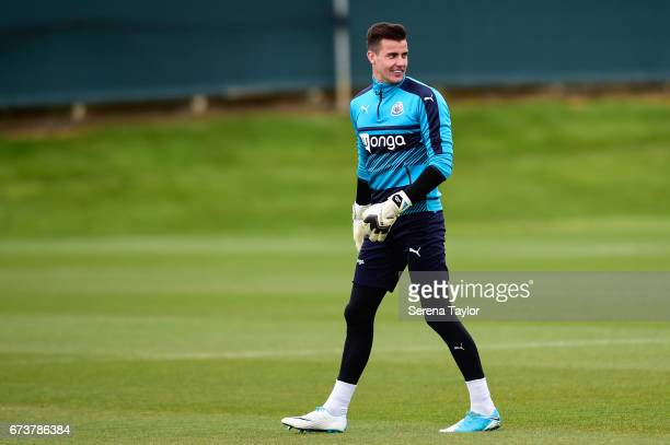 Goalkeeper Karl Darlow walks across the pitch during the Newcastle United Training Session at the Newcastle United Training Ground on April 27 2017...