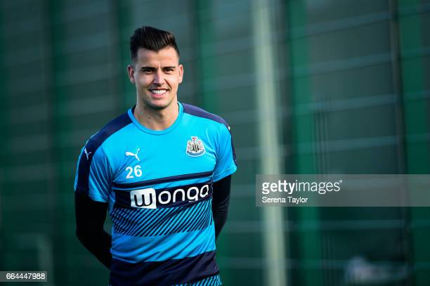 Goalkeeper Karl Darlow walks outside during the Newcastle United Training Session at The Newcastle United Training Centre on April 4 2017 in...