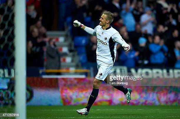 Goalkeeper KarlJohan Johnsson of Randers FC celebrates after their second goal during the Danish Alka Superliga match between Randers FC and FC...