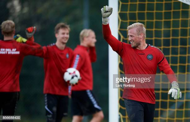 Goalkeeper Kasper Schmeichel celebrating during the Denmark training Session at Dragor Stadion on October 2 2017 in Dragor Denmark