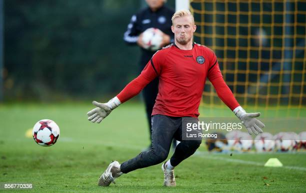 Goalkeeper Kasper Schmeichel in action during the Denmark training Session at Dragor Stadion on October 2 2017 in Dragor Denmark