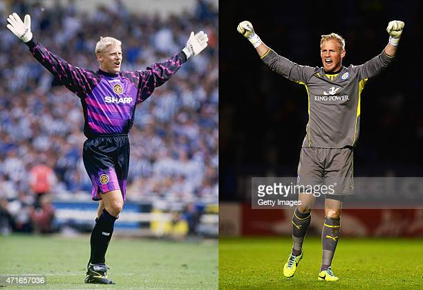 In this composite image a comparison has been made between images 1251624 and 186224564 of Father and Son Peter Schmeichel of Manchester United...