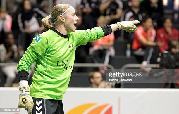 Goalkeeper Katja Schroffenegger of FF USV Jena during the DFB Women's Indoor Cup 2013 at the GETECArena on January 19 2013 in Magdeburg Germany