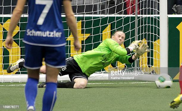 Goalkeeper Katja Schroffenegger of FF USV Jena in action during the DFB Women's Indoor Cup 2013 at the GETECArena on January 19 2013 in Magdeburg...