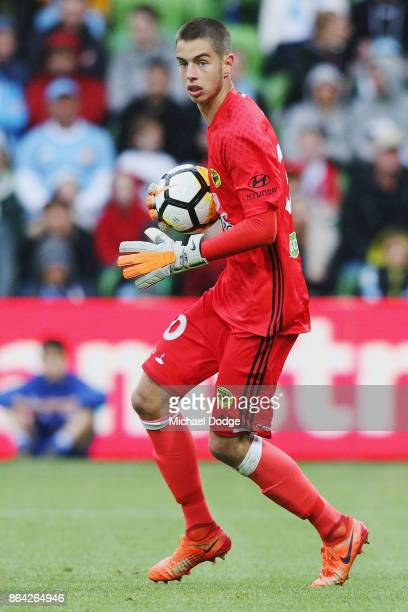 Goalkeeper Keegan Smith of Wellington Phoenix looks upfield during the round three ALeague match between Melbourne City and the Wellington Phoenix at...