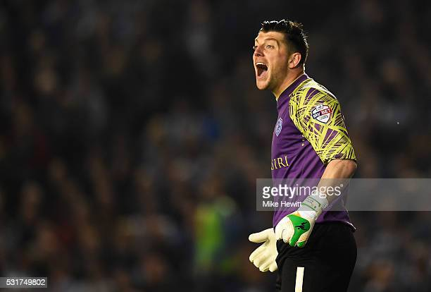 Goalkeeper Keiren Westwood of Sheffield Wednesday shouts during the Sky Bet Championship Play Off semi final second leg match between Brighton Hove...