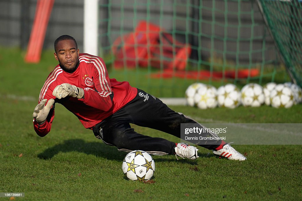 Goalkeeper Kenneth Vermeer of Amsterdam does a save during a training session ahead of the UEFA Champions League match against Borussia Dortmund on November 20, 2012 in Amsterdam, Netherlands.