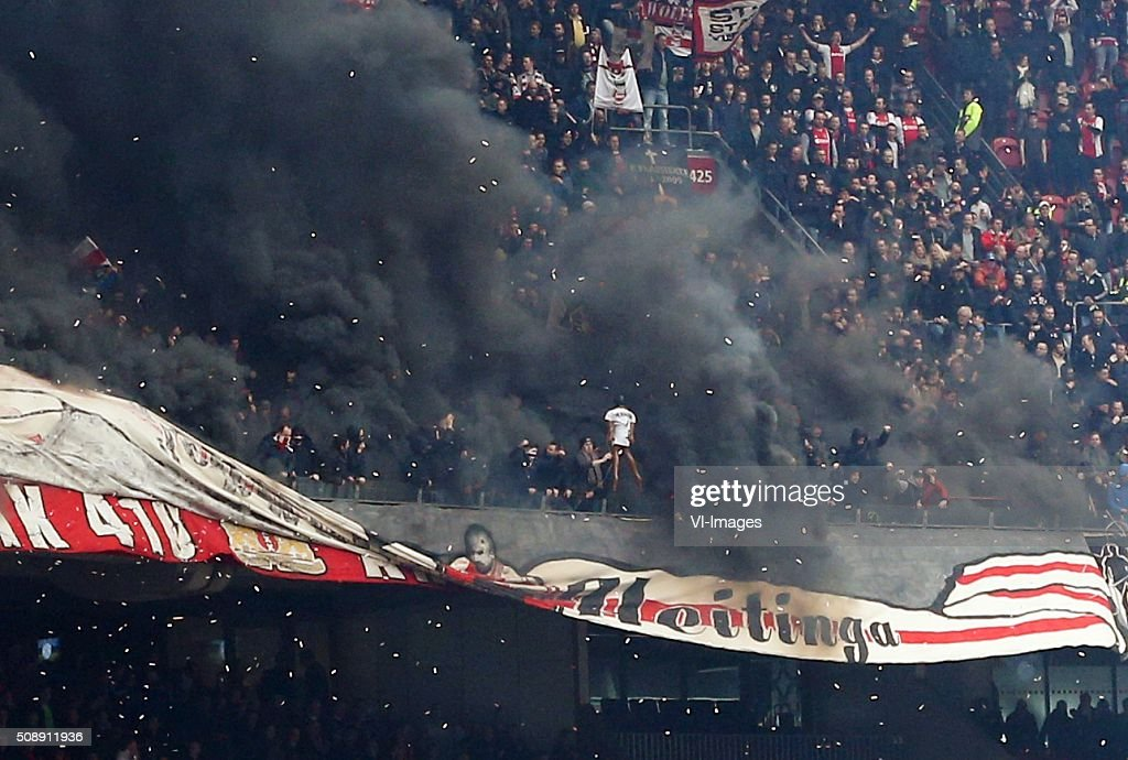 goalkeeper Kenneth Vermeer of Feyenoord (not on picture) during the Dutch Eredivisie match between Ajax Amsterdam and Feyenoord Rotterdam at the Amsterdam Arena on February 07, 2016 in Amsterdam, The Netherlands