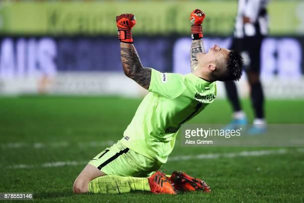 Goalkeeper Kevin Mueller of Heidenheim celebrates after the final whistle of the Second Bundesliga match between SV Sandhausen and 1 FC Heidenheim...