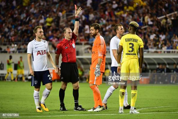 Goalkeeper Kevin Trapp of PSG receives a red card from referee Ted Unkel during the International Champions Cup match between Paris Saint Germain and...