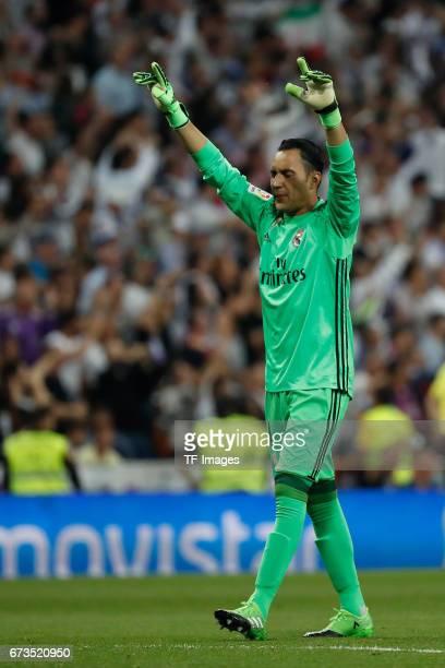 goalkeeper Keylo Navas of Real Madrid celebrate a goal during the La Liga match between Real Madrid CF and FC Barcelona at the Santiago Bernabeu...