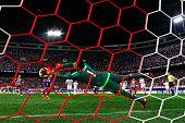 goalkeeper Keylor Navas of Atletico de Madrid stops the penalty shot striked by Antoine Griezmann of Atletico de Madrid during the La Liga match...